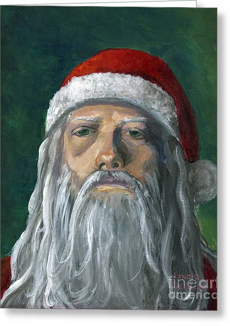 Santa Portrait Art Red And Green Greeting Card