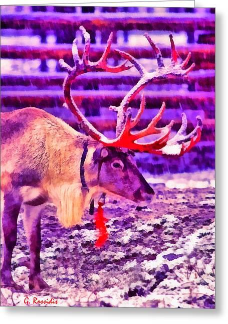 Santa Reindeer Greeting Card by George Rossidis