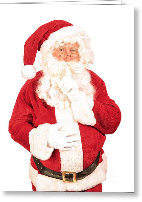 Santa Saying Shush Greeting Card by Amanda Elwell