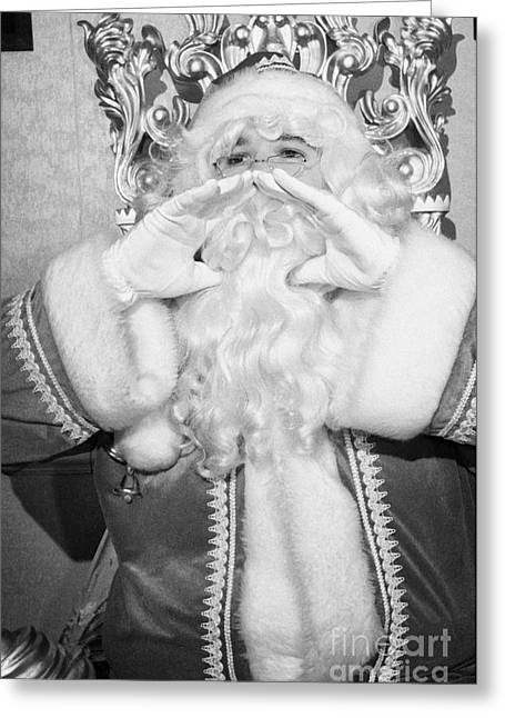 Santa Sitting On His Throne In Grotto Calling Out Greeting Card by Joe Fox