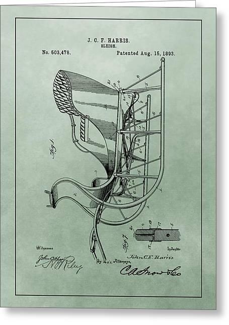 Santa Sleigh Patent Greeting Card