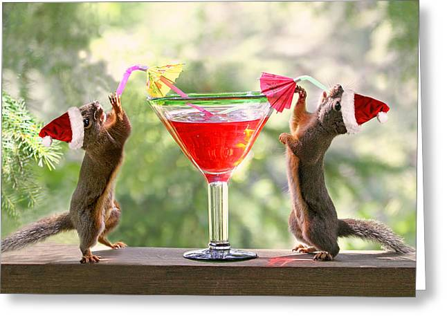 Santa Squirrels Celebrating Christmas Greeting Card