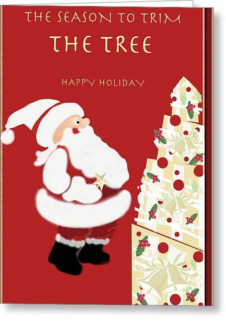 Santa Trim Tree Greeting Card