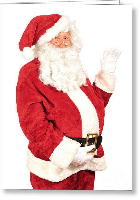 Santa Waving Greeting Card by Amanda Elwell