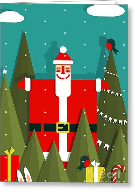 Santa With Gifts And Presents In Woods Greeting Card