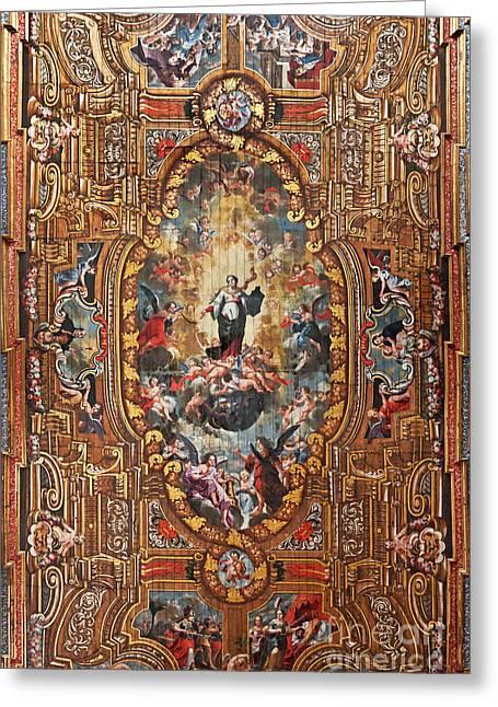 Santarem Cathedral Painted Ceiling Greeting Card by Jose Elias - Sofia Pereira