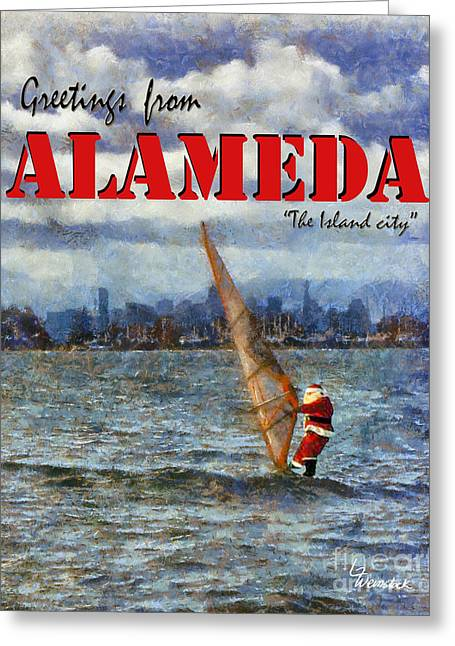 Alameda Santa's Greetings Greeting Card by Linda Weinstock