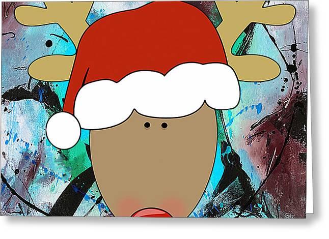 Santa's Christmas Reindeer Greeting Card