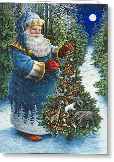 Santa's Christmas Tree Greeting Card by Lynn Bywaters