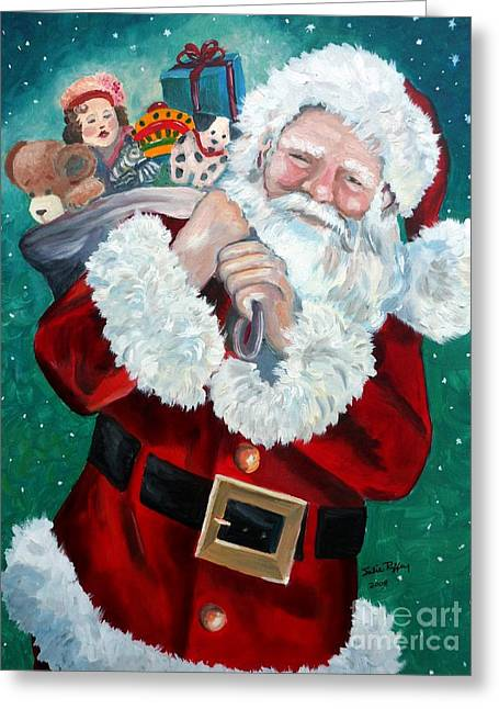 Greeting Card featuring the painting Santa's Coming To Town by Julie Brugh Riffey