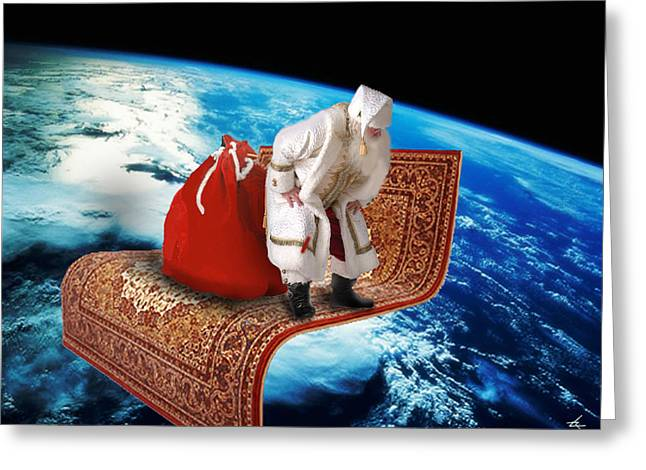 Santa's Flying Carpet Greeting Card