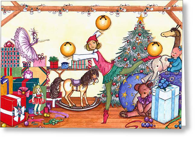 Greeting Card featuring the painting Santa's Giftwrapper by Katherine Miller