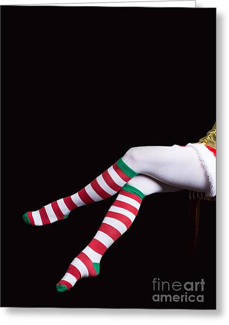 Santas Helper Legs Christmas Card Greeting Card