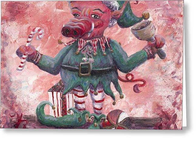 Santa's Littlest Elf Hog Greeting Card by Nadine Rippelmeyer