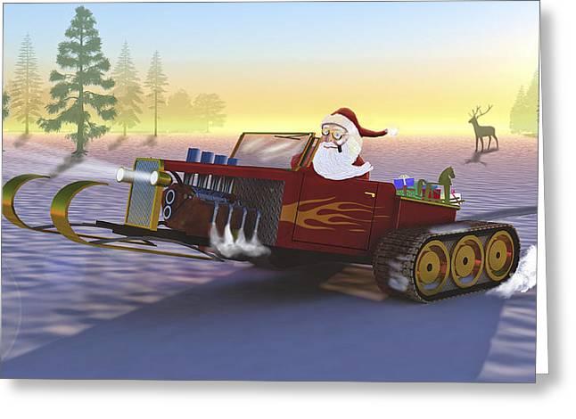 Santa's New Sleigh Greeting Card