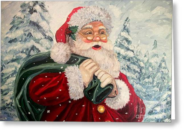 Santa's On His Way Greeting Card