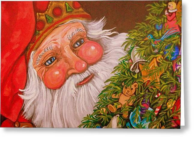 Santa's Tree Greeting Card by Sherry Dole