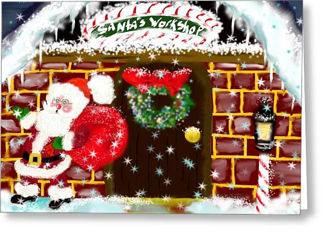 Greeting Card featuring the painting Santa's Workshop by Lori  Lovetere