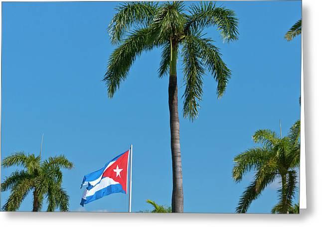 Santiago, Cuba, Cuban Flag Flying Greeting Card by Bill Bachmann