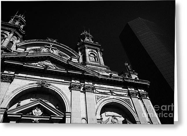 Santiago Metropolitan Cathedral Next To Modern Glass Clad Office Block Chile Greeting Card by Joe Fox