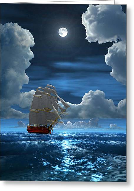 Santisima Trinida In The Moonlight 2 Greeting Card