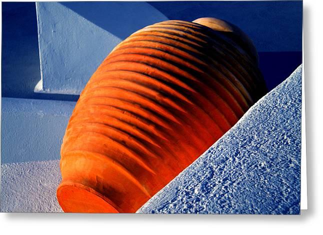 Greeting Card featuring the photograph Santorini  Ceramics Pot Greece by Colette V Hera  Guggenheim