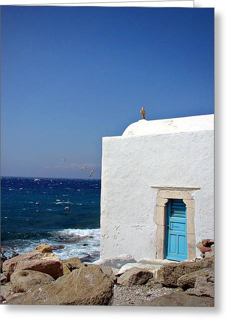 Santorini Chapel By The Sea Greeting Card