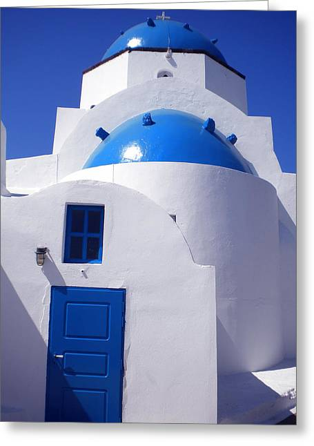 Greeting Card featuring the photograph Santorini Church  by Colette V Hera  Guggenheim