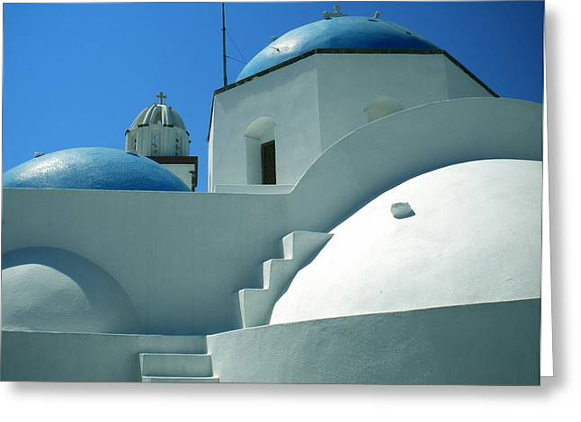 Greeting Card featuring the photograph Santorini Church Greece by Colette V Hera  Guggenheim