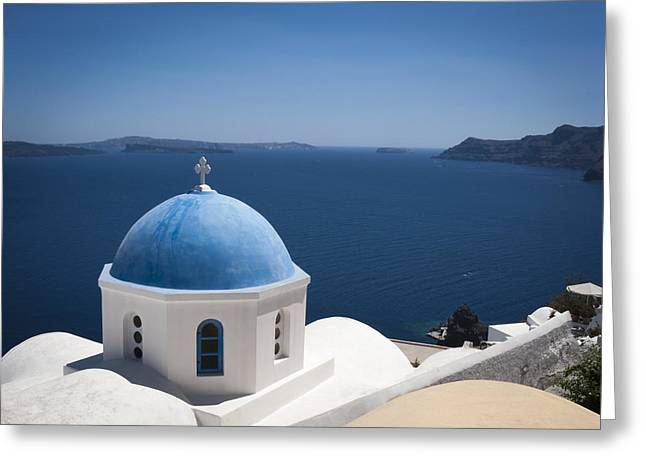 Santorini Church On A Summer Day Greeting Card