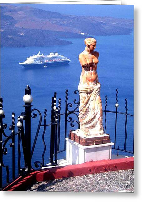 Santorini Greece Venus De Milo Greeting Card by Jay Milo