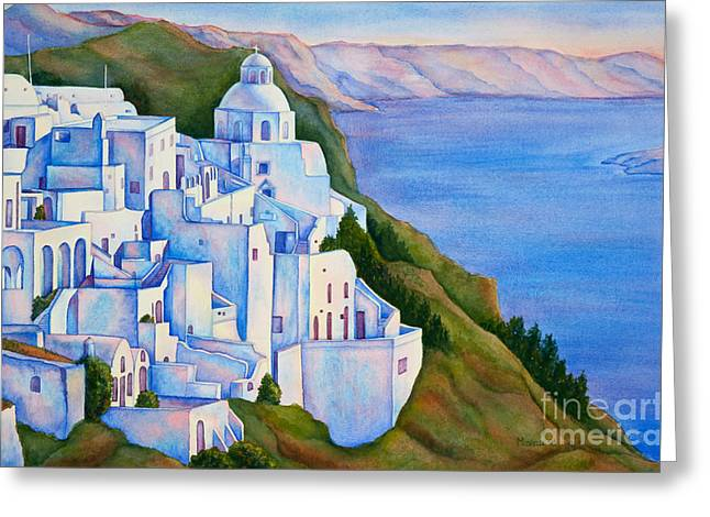 Santorini Greece Watercolor Greeting Card