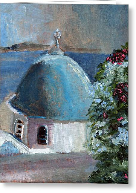 Santorini Greece Greeting Card by Michael Helfen