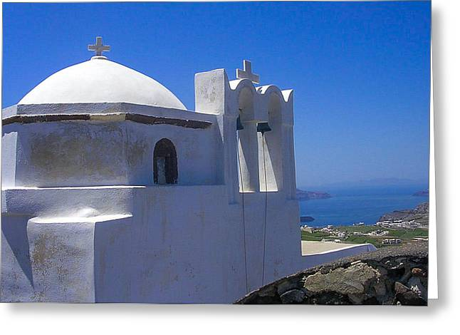 Santorini Hilltop Chapel Greeting Card