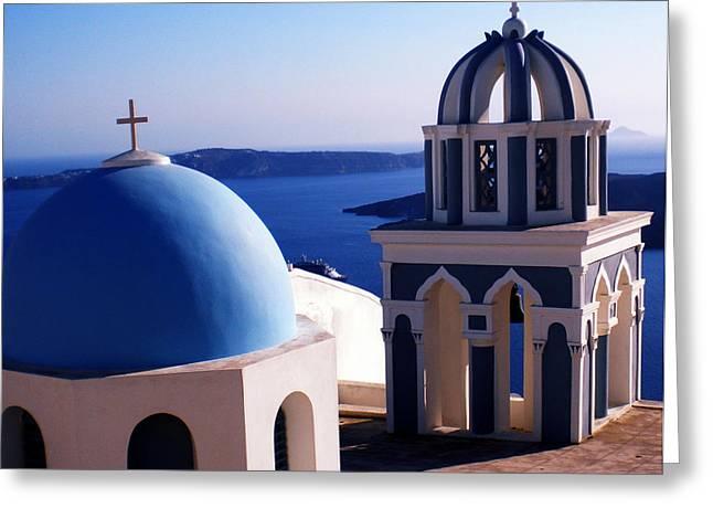 Greeting Card featuring the photograph Santorini  Island Church Greece  by Colette V Hera  Guggenheim