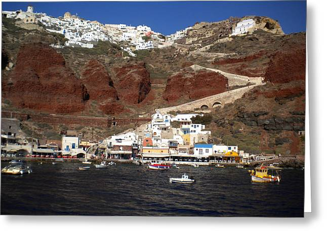 Santorini  Island  View To Oia Greece Greeting Card