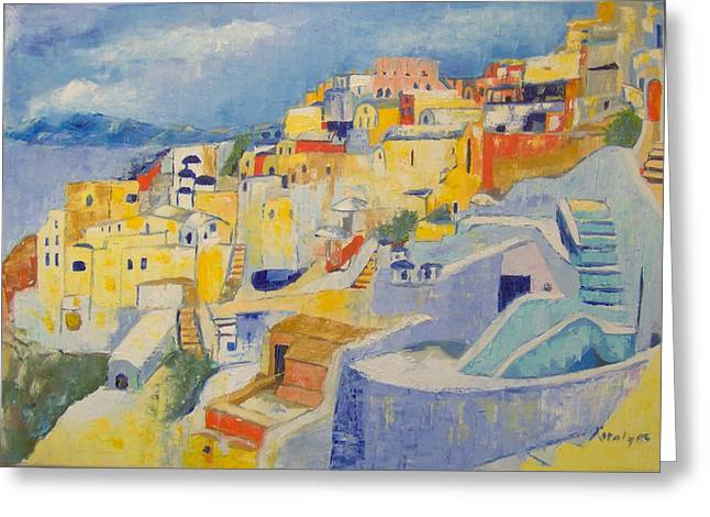 Santorini Greeting Card by Maria Karalyos