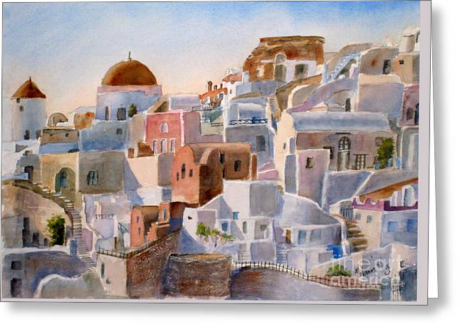 Santorini Greeting Card by Mohamed Hirji