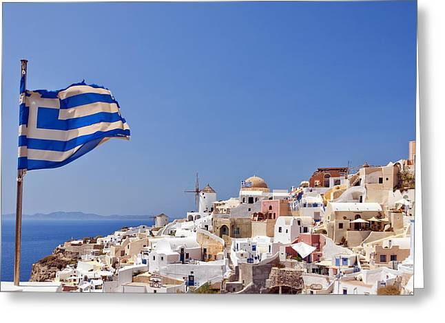 Santorini Oia Greeting Card by Antony McAulay