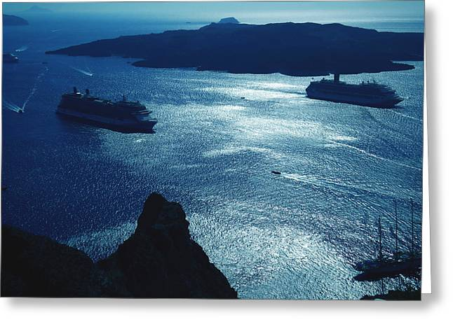 Greeting Card featuring the photograph Santorini  Silent Night View Greece by Colette V Hera  Guggenheim