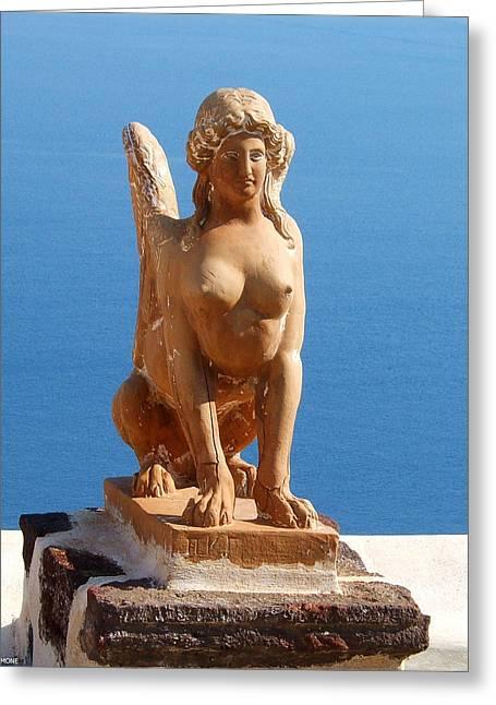 Santorini Sphynx Greeting Card