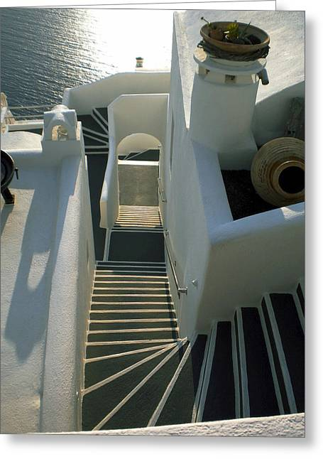 Greeting Card featuring the photograph Santorini Stairs by Colette V Hera  Guggenheim