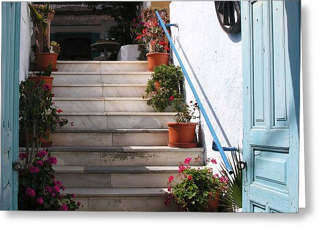 Santorini Steps Greeting Card by Mel Steinhauer