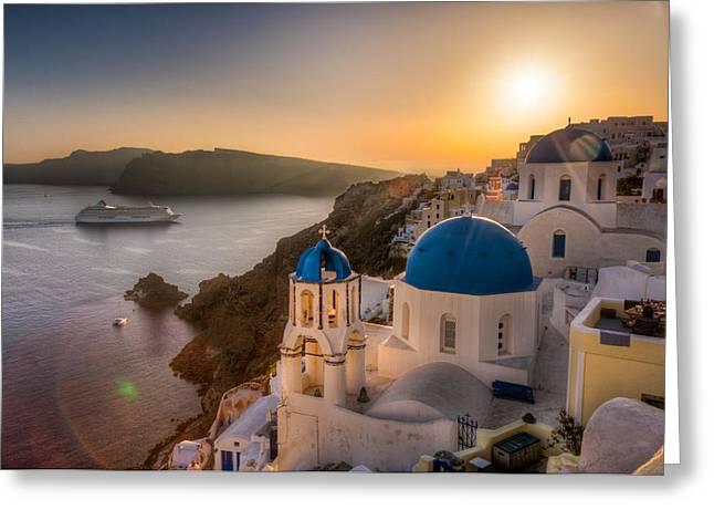 Santorini Sunset Cruise Greeting Card