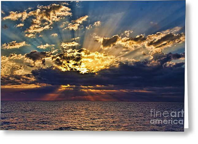 Greeting Card featuring the photograph Santorini Sunset by Shirley Mangini