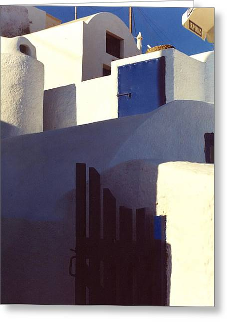 Santorini White Greeting Card by Andrea Simon