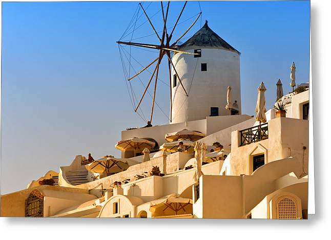 Santorini Windmill 05 Greeting Card