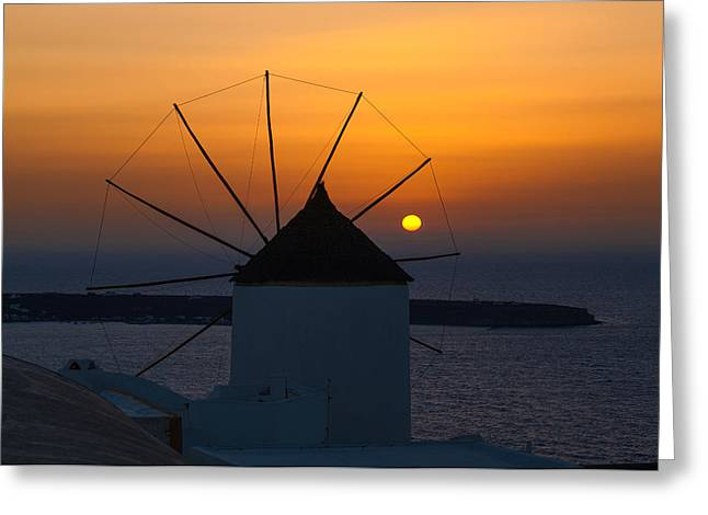 Santorini Windmill Sunset Greeting Card