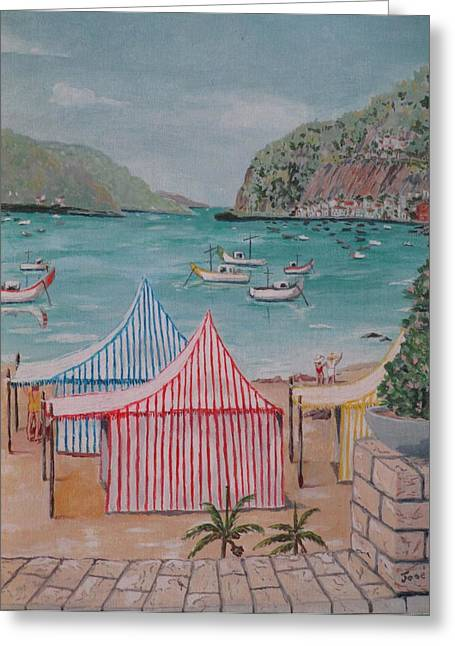 Greeting Card featuring the painting Sao Martinho Do Porto by Hilda and Jose Garrancho