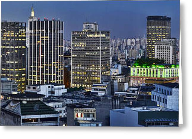 Sao Paulo Downtown At Dusk - Big Skyline - Famous Buildings Greeting Card by Carlos Alkmin